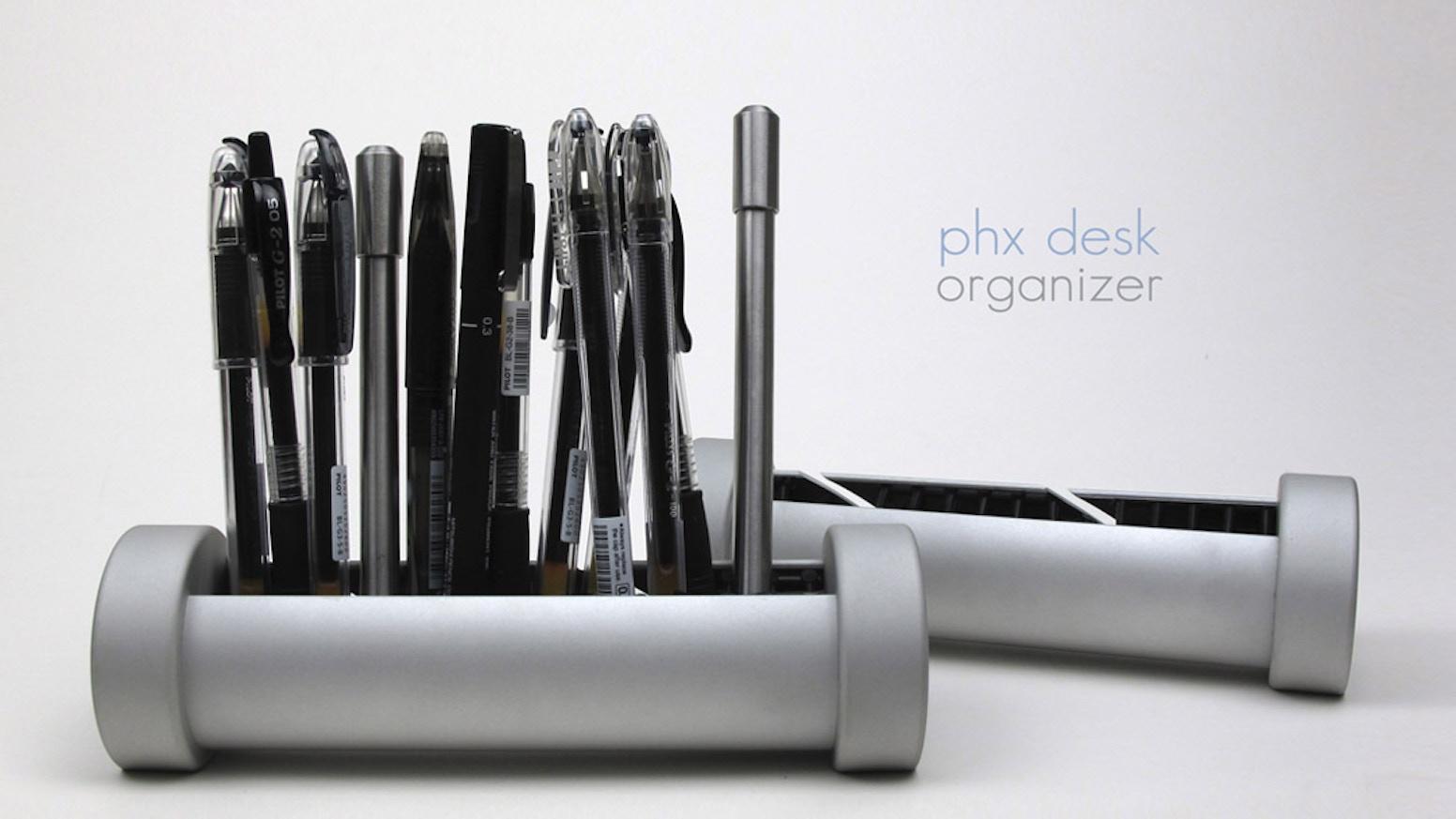Versatile anodized aluminum desk organizer that makes your favorite pens,  iphones, and even your