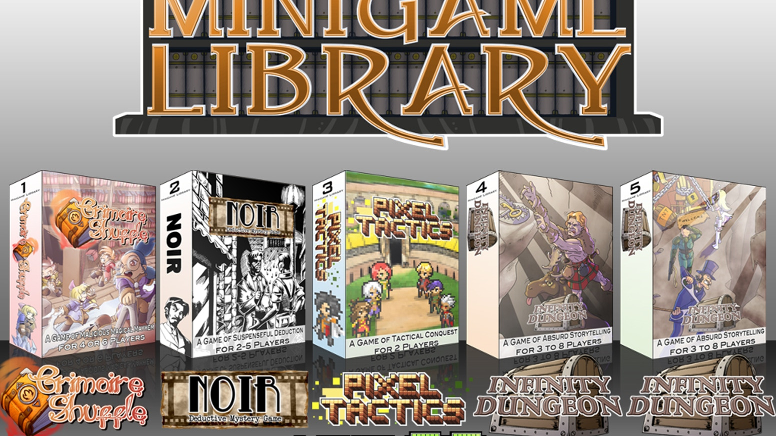 Five brand new games, each able to fit in your pocket and each for a different occasion. Mystery, Tactics, Puzzle, and Storytelling!