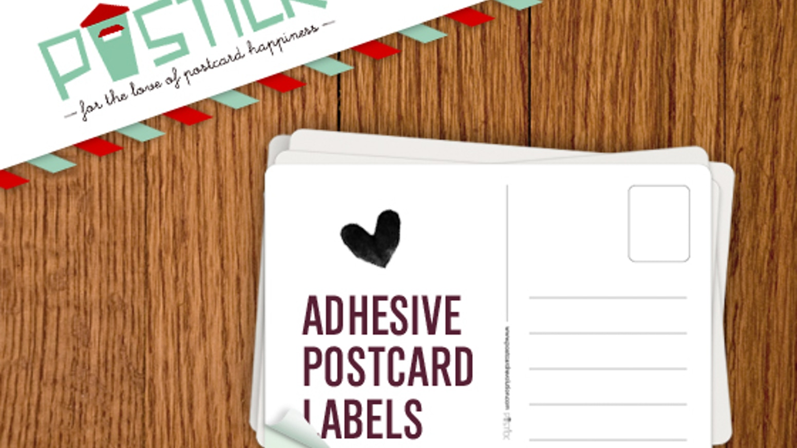 Self-adhesive postcard-back labels that transform photographs, drawings, notes, fabric and all kinds of things into real, physical postcards.