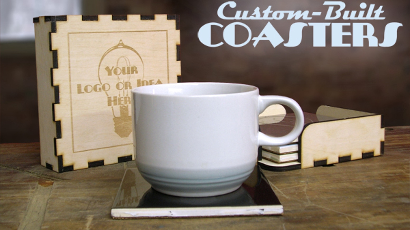 custom built coasters laser engraved for a personal touch by the