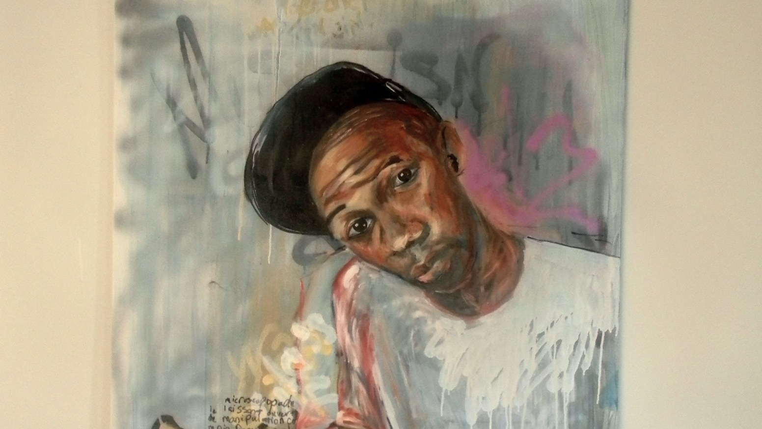 Produce large urban graffiti style portrait paintings on canvas using the mediums of oil ink and spray paint