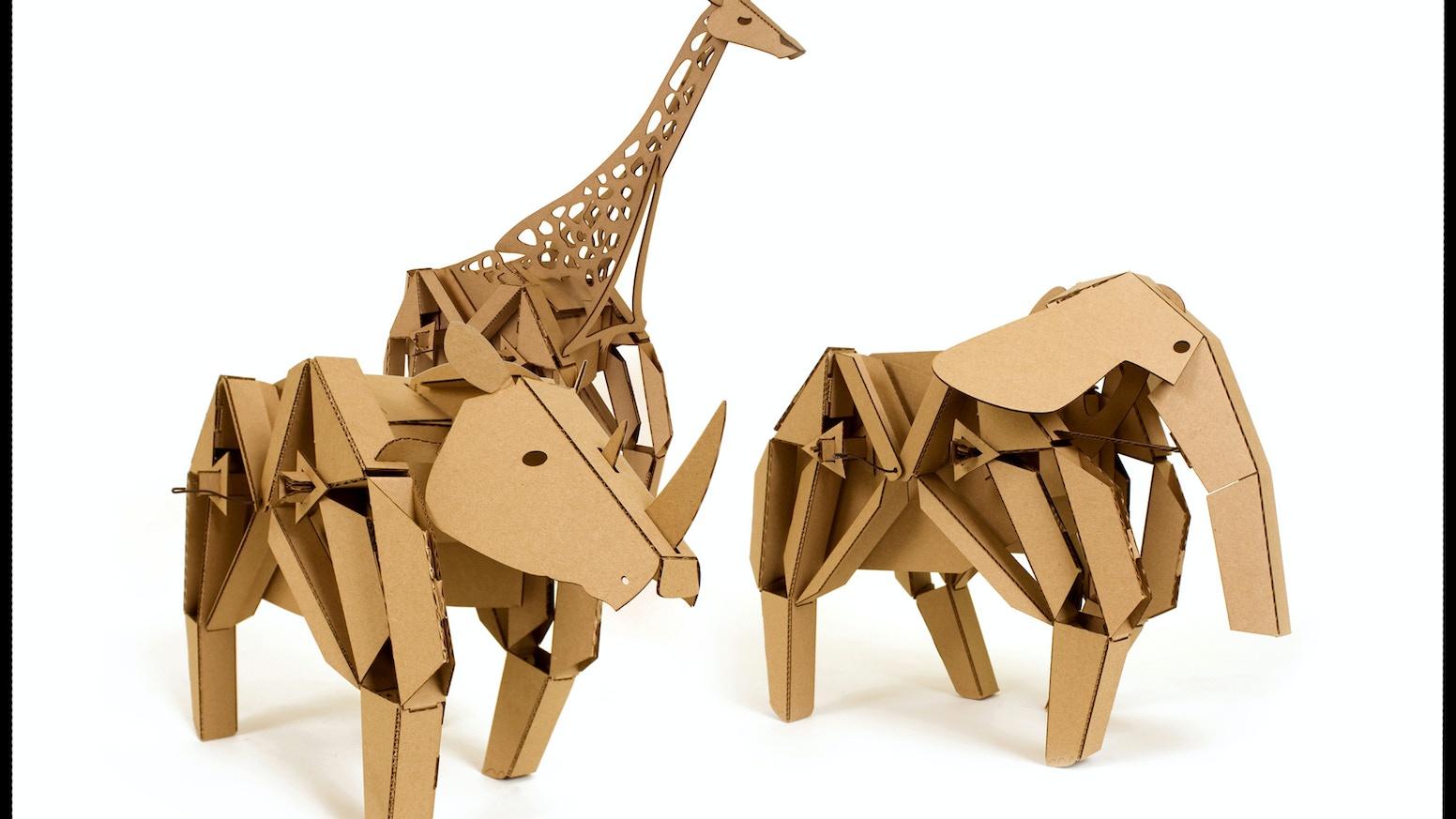 Kinetic creatures by lucas ainsworth alyssa hamel kickstarter kinetic creatures are diy mechanical cardboard animals solutioingenieria Images