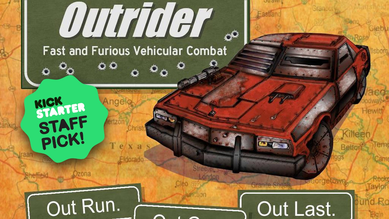 Outrider is tabletop game that turns your kitchen table into a post-apocalyptic war zone.