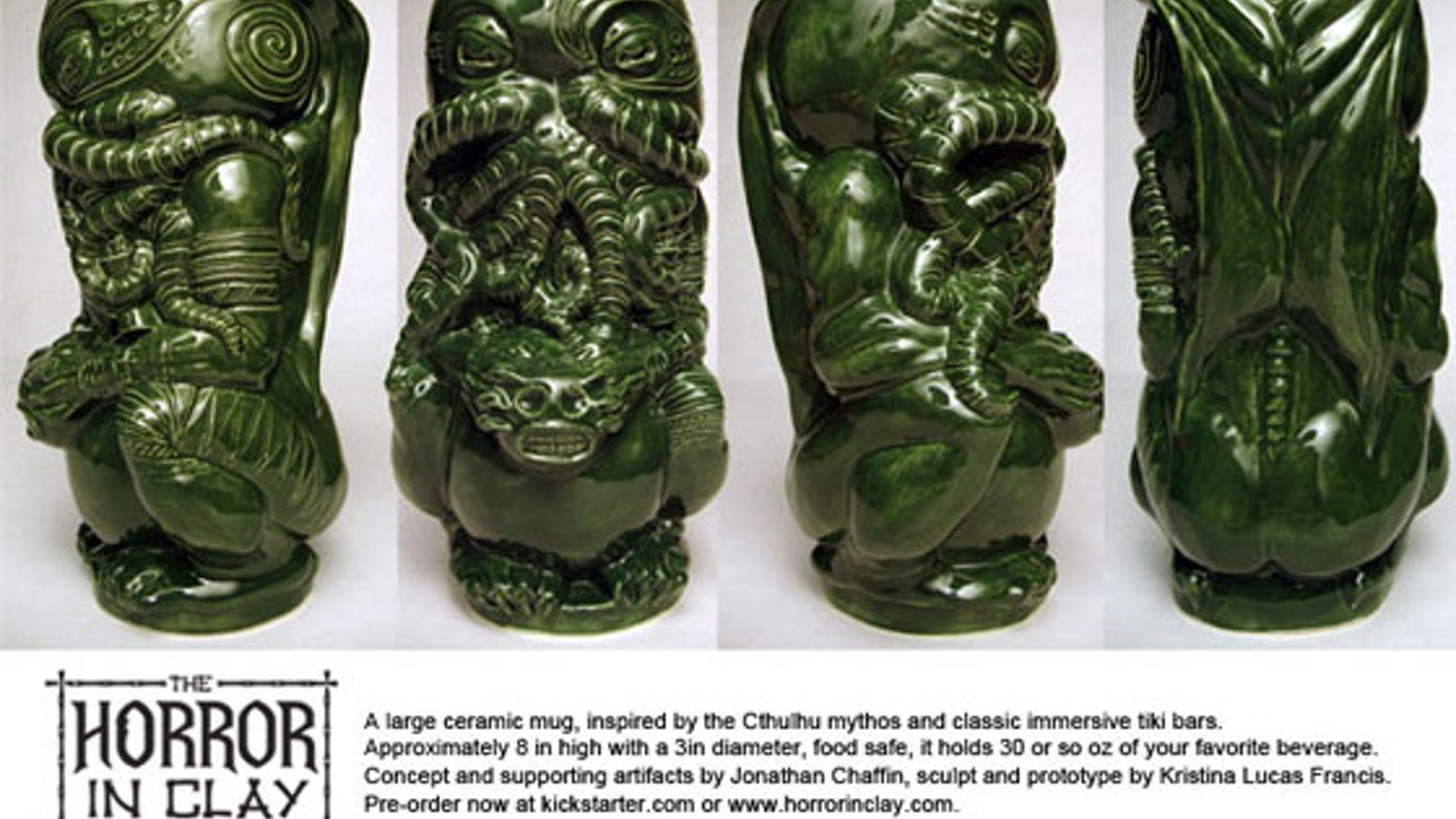 Experience The Horror In Clay; a large original Cthulhu tiki mug complete with backstory and artifacts. Production run of 500+