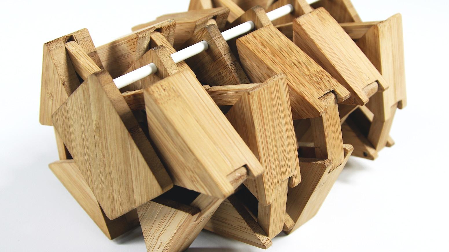 A desktop bamboo walking machine.