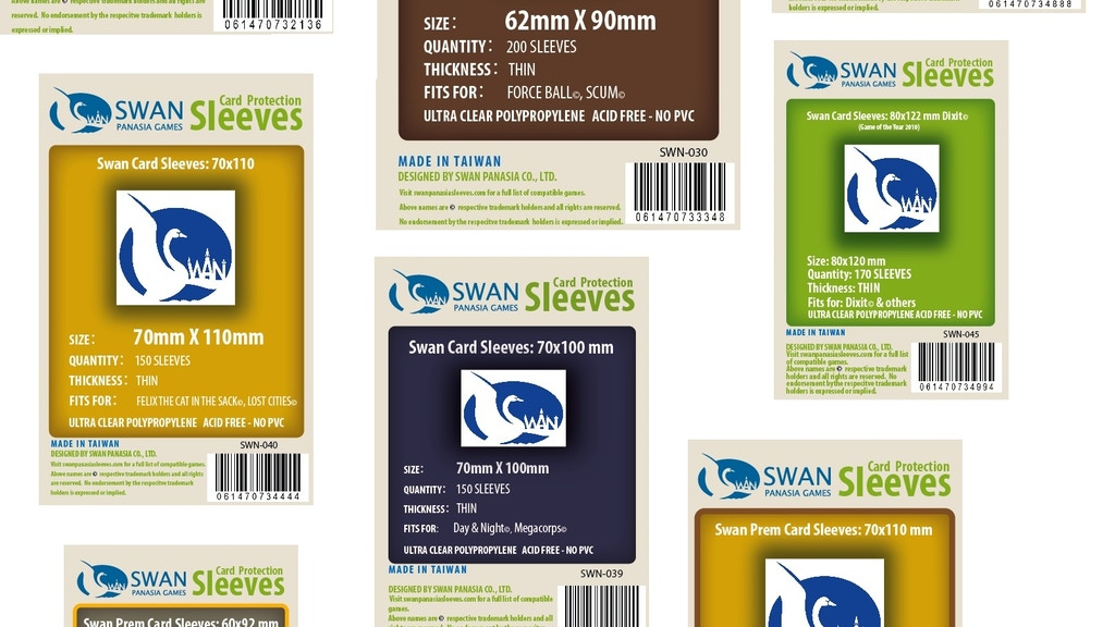 50+ types/sizes of Board/Card Game Sleeves from Swan Panasia project video thumbnail