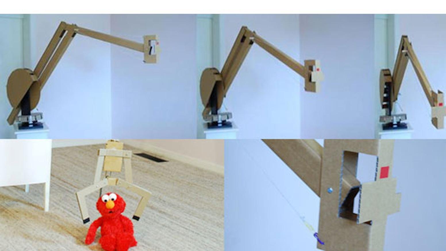 Cardboard Robot: open smart phone camera crane & robotic arm by Ken