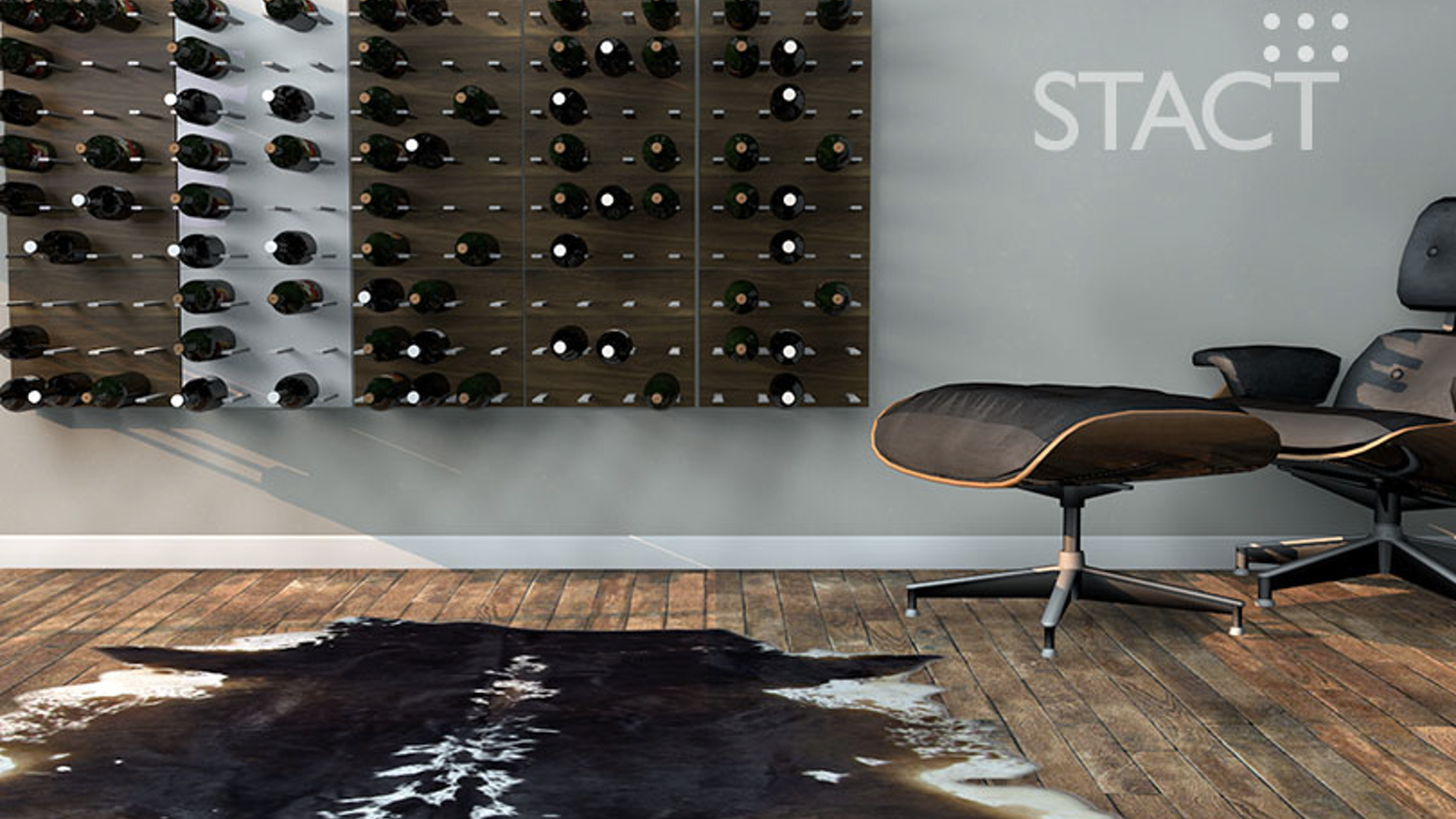 Transform your wine collection into instant wall bling.  Crafted from aircraft-grade anodized aluminum and premium wood veneers.