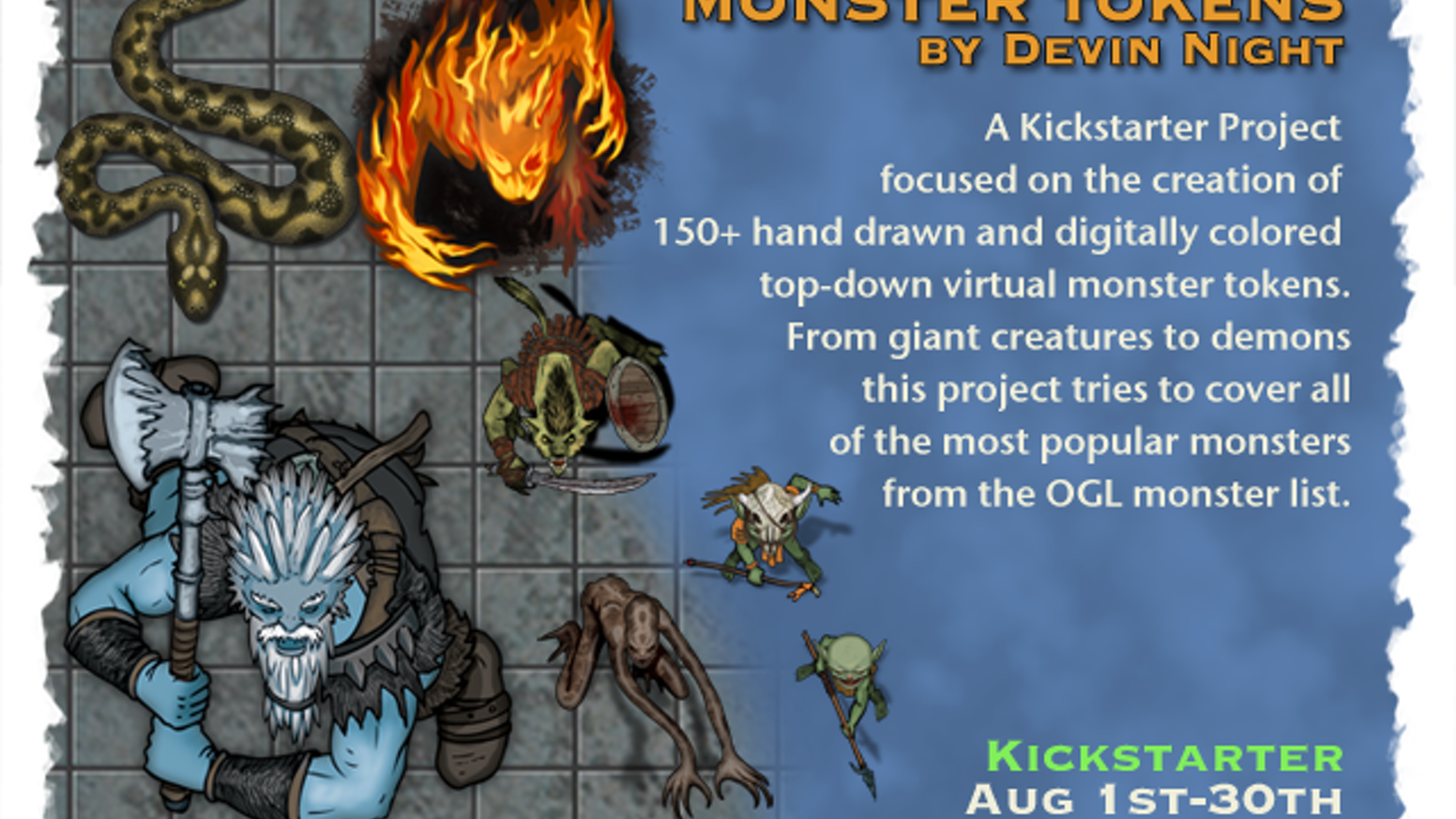 Hand drawn and colored by Devin Night and Nell Bailey. These tokens are overhead monsters from the OGL/SRD list of fantasy monsters.
