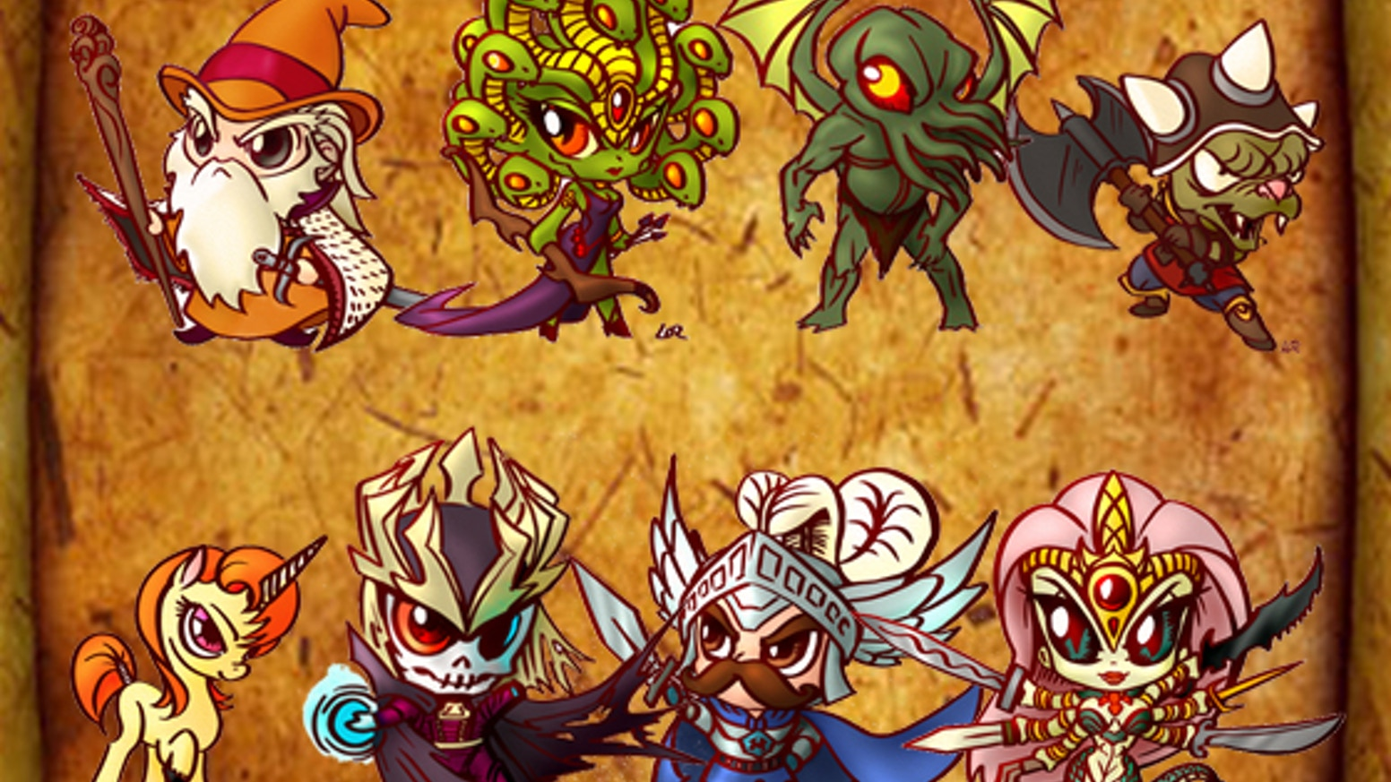 A miniatures line featuring RPG heroes, villains, monsters, Cthulhu and ponies in chibi anime style.