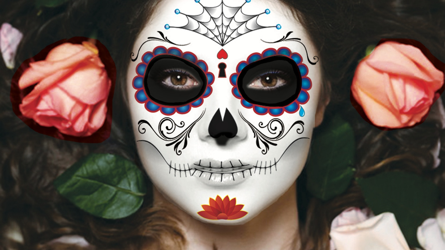 temporary tattoos make decorating your face as a sugar skull for halloween or the day