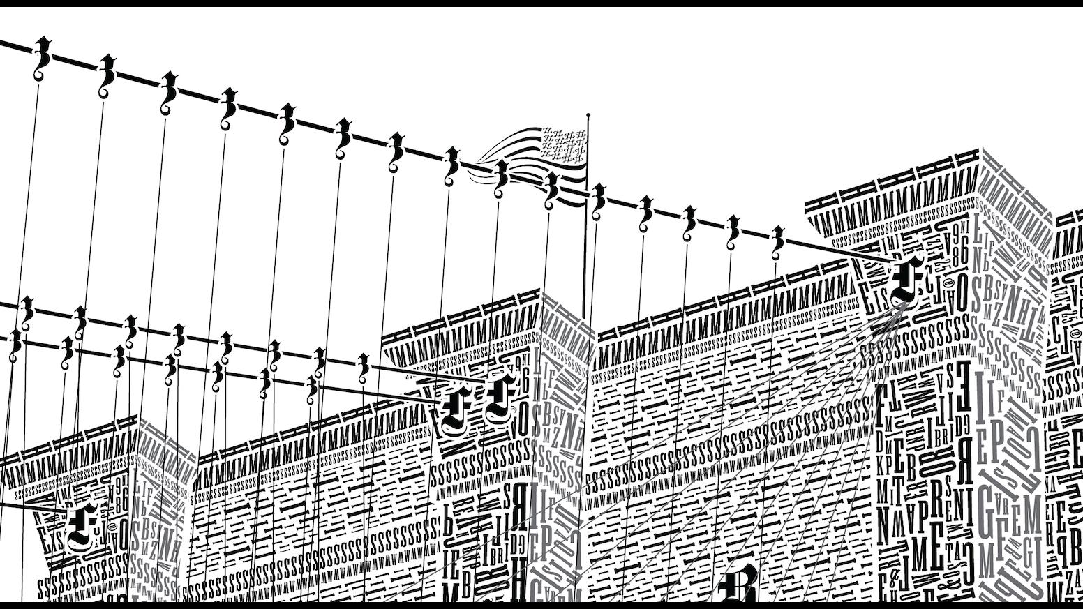 One Line Ascii Art Eyes : The brooklyn bridge in letterpress type by cameron moll