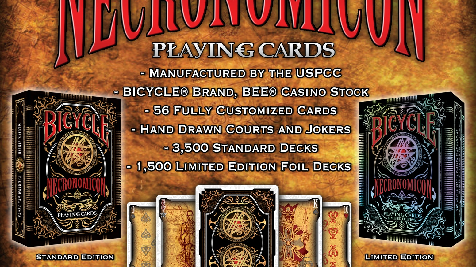 From the Creators of THE GRID Bicycle® deck comes NECRONOMICON. A 56 playing card deck. Printed by the USPCC on Premium BEE paper stock