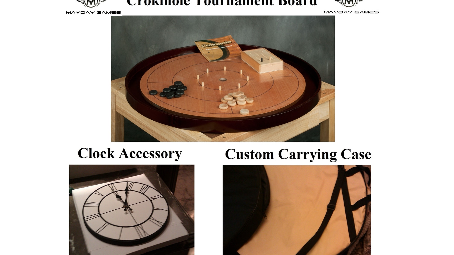 Your chance to help fund a Tournament Sized Hardwood Crokinole Board, Custom Carrying Case or Clock Accessory! Check the Early Specials