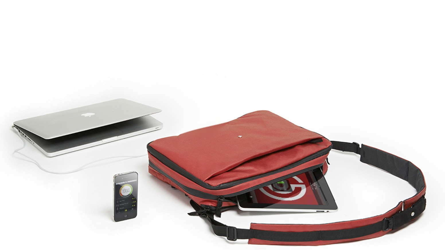 A bag that charges all your devices, communicates with your smartphone, and transforms from a messenger, to a backpack, or briefcase.