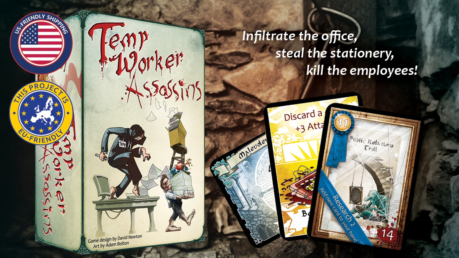Temp Worker Assassins is a fun deck-building, worker  placement card game. You play as Temp Workers who are secretly assassins.