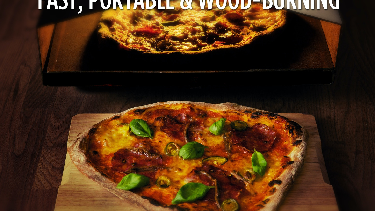 Ooni (formerly Uuni). It's like a traditional wood-fired pizza oven but it doesn't cost the earth. And it's much smaller and lighter. Powered by wood.