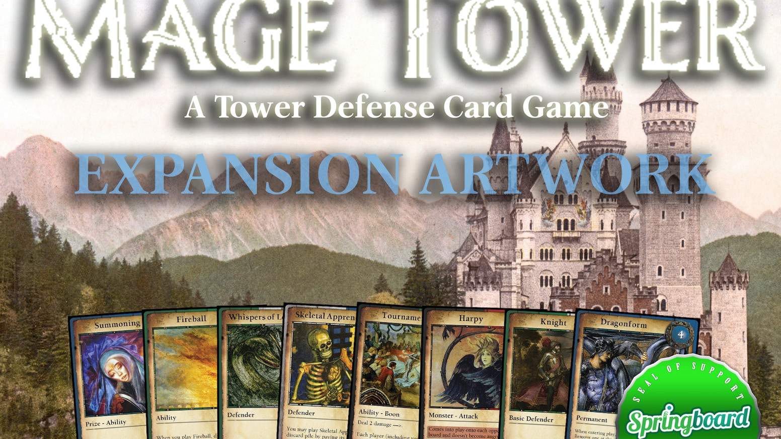 Mage Tower is a tower defense card game for 2-4 players.  This project is to raise money for artwork to develop an expansion.