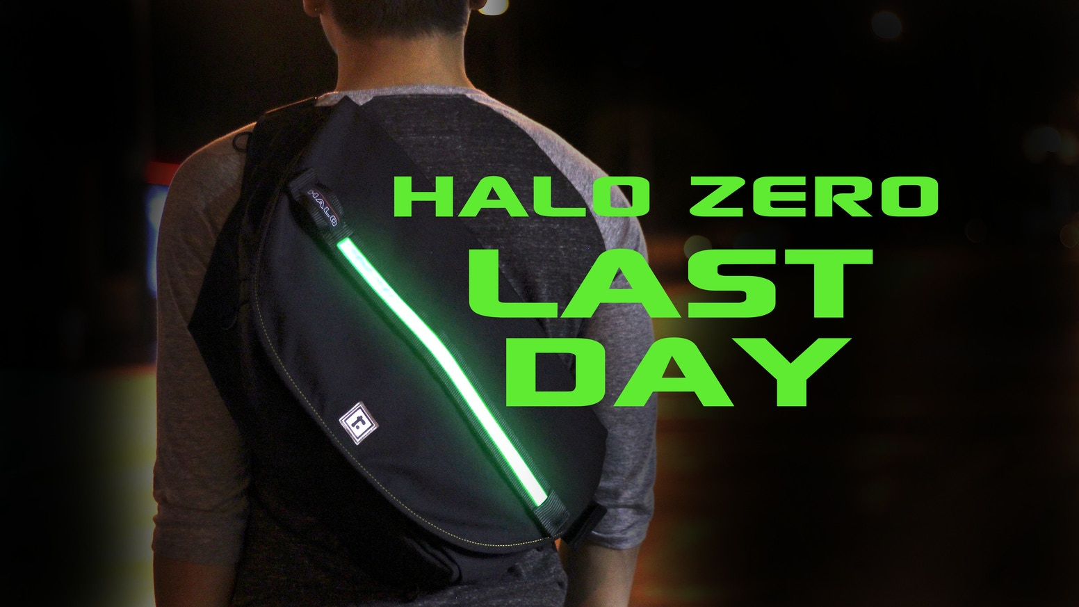 Mission: SAVE LIVES. HALO ZERO messenger bag illuminates at night, keeping safety just a click away.
