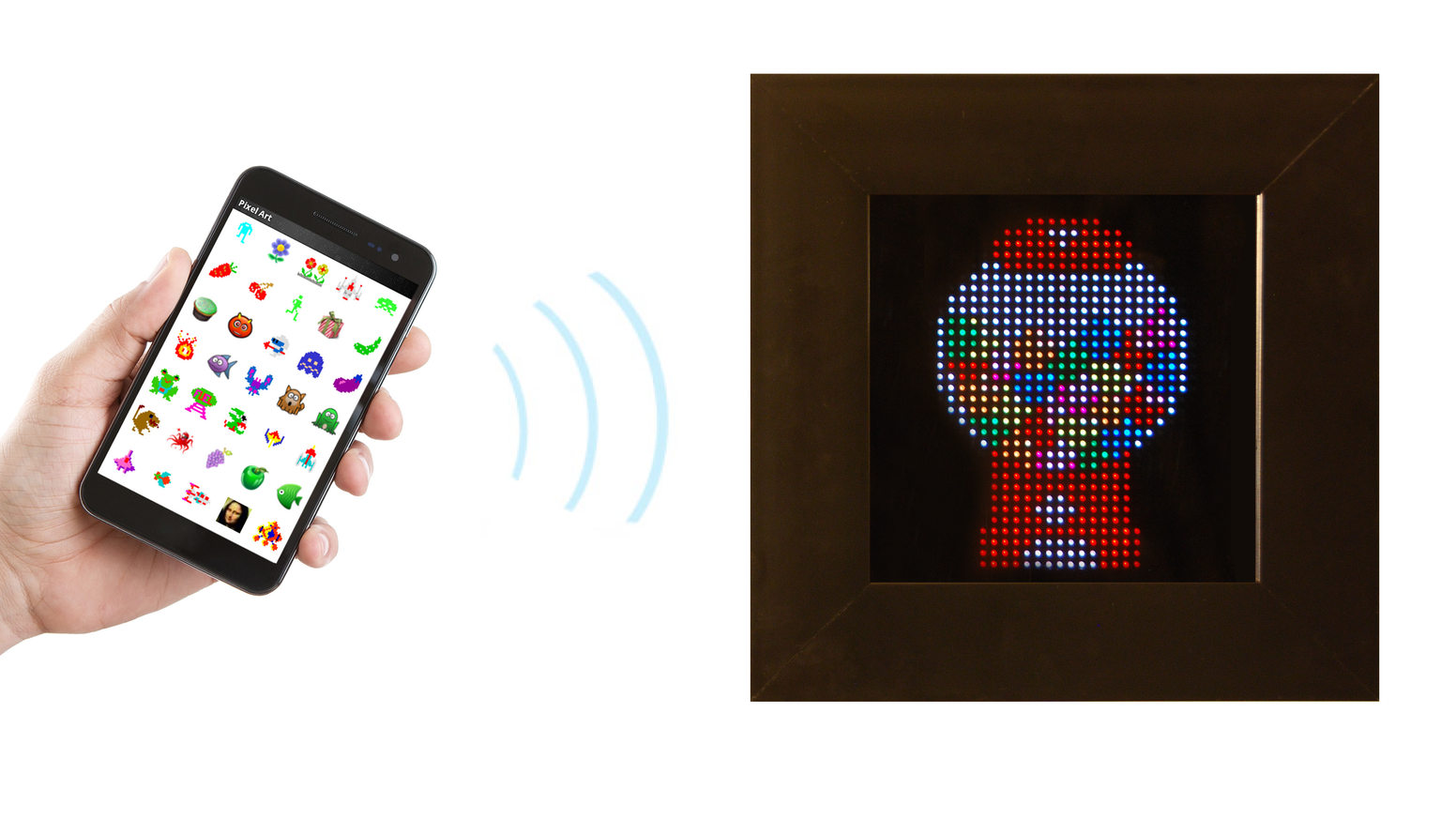 An interactive LED based display for retro pixel art. Use your Android device to change the image or animation.