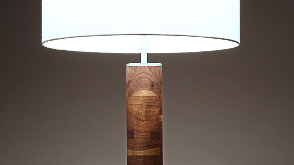 modern hardwood and steel table lamp project video thumbnail