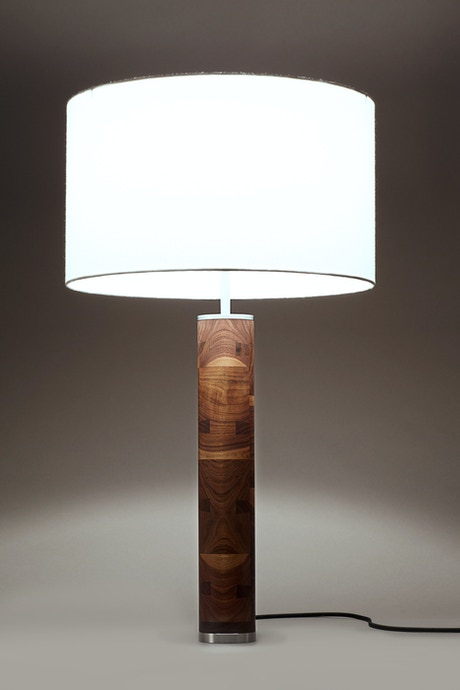Modern Hardwood And Steel Table Lamp By John Ford