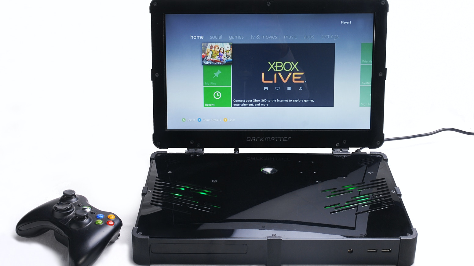 Darkmatter is the world's first Xbox laptop that you can buy as a fully assembled product or in kit form. Now Xbox ONE compatible!