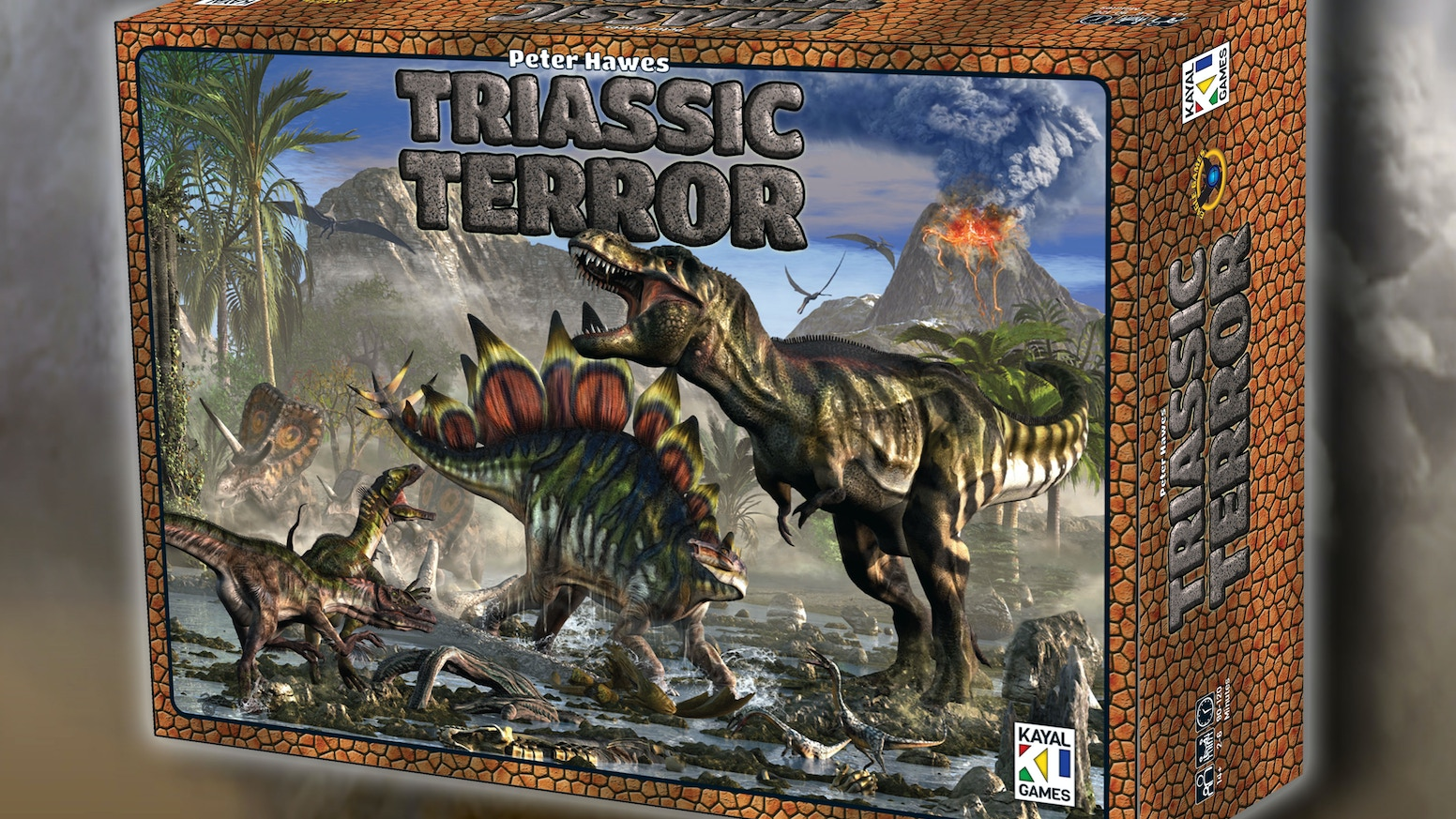 In Triassic Terror you compete for the best dinosaur herd habitats in four primeval environments--swamp, forest, mountains and desert.