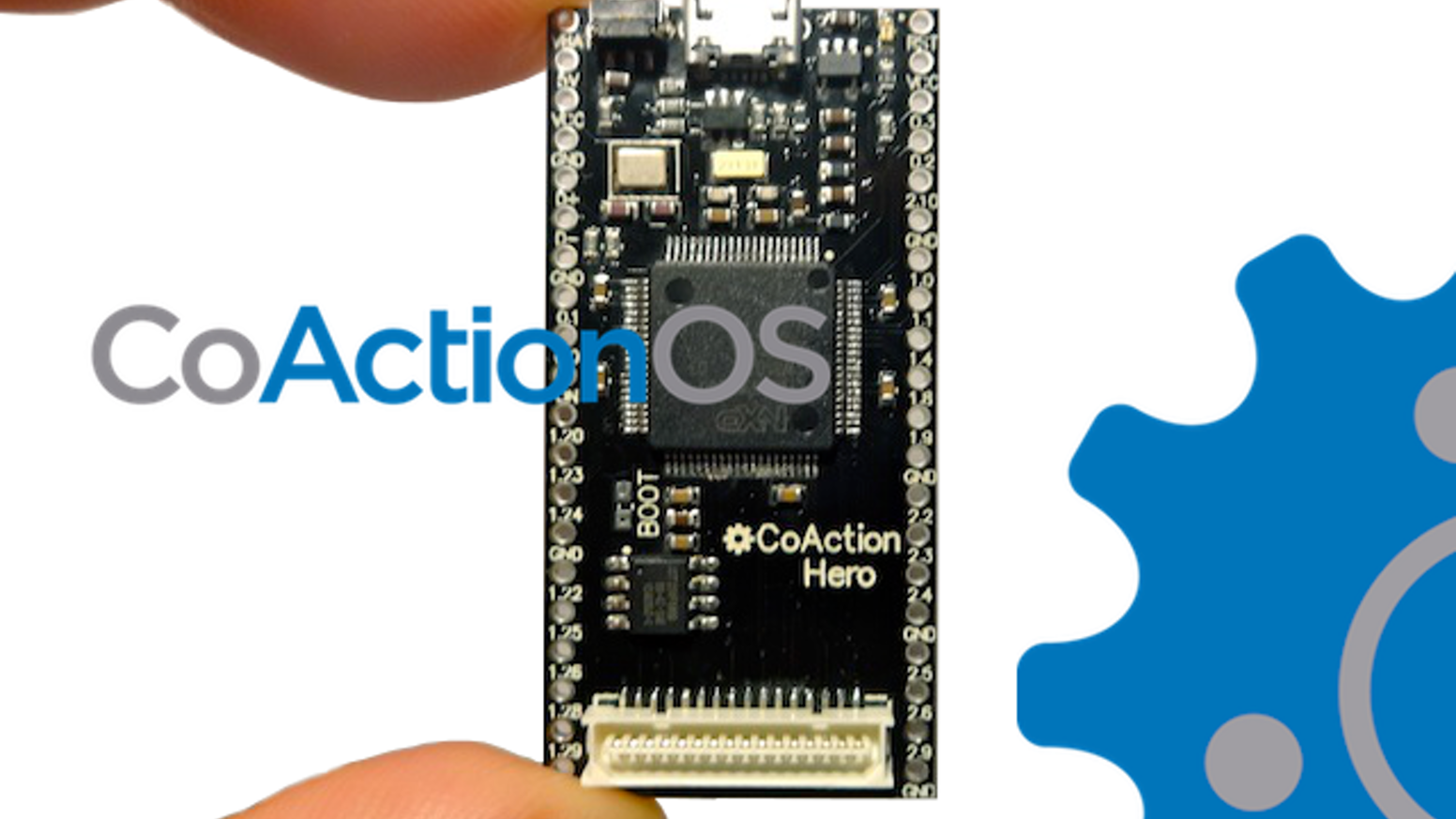 CoAction Hero: a powerful proto-board with a 120Mhz processor, 1MB filesystem, and built-in OS for tinkerers and engineers alike.