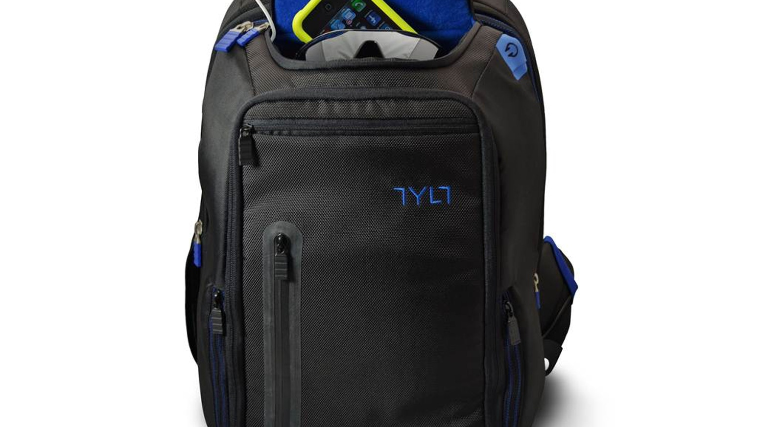 A lightweight backpack that can charge your smartphone 4 times or an iPad one full charge, and recharge via a USB port