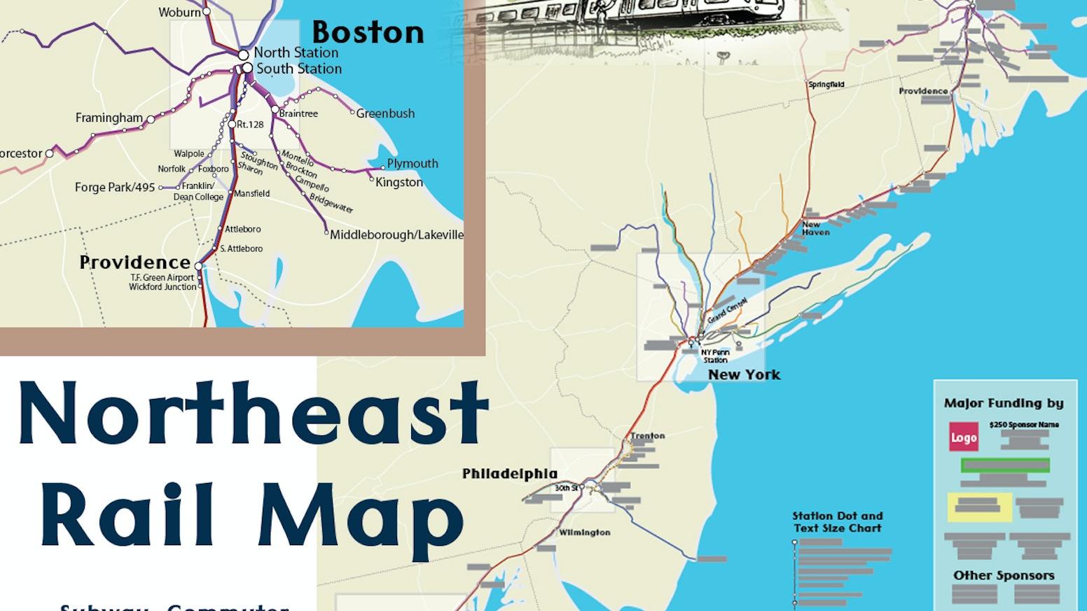 Northeast Us Rail Map By Alfred Baltimore Closeup Kickstarter - Us-map-close-up