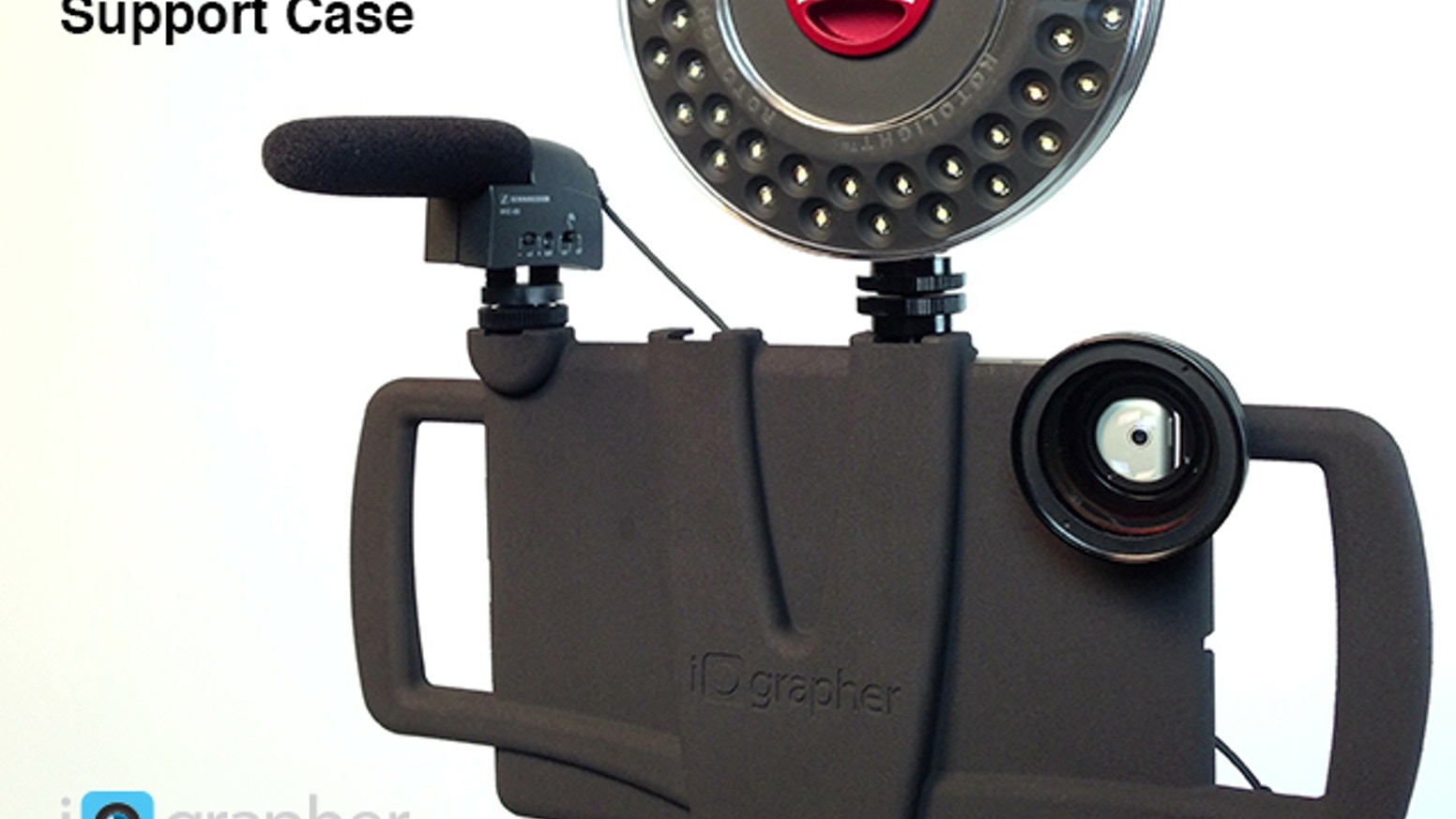 iOgrapher Support Case for iPad Mini! Use handles, add lenses, audio equipment, lights and mount on a tripod!