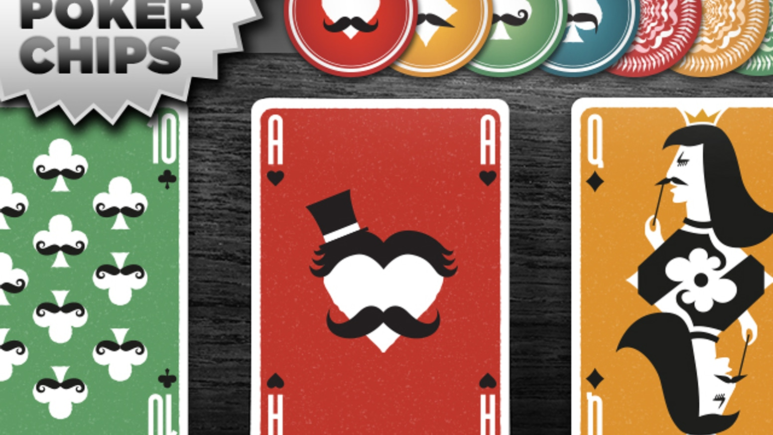 Mustache themed playing cards  + stylish laser cut mustaches