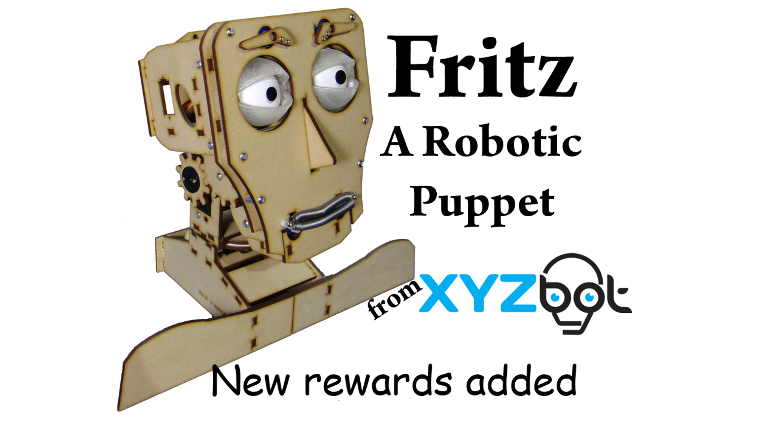 Fritz is a robotic puppet head that you can control with an easy to use app. He has moving eyes, jaw, eyelids, eyebrows, and neck.