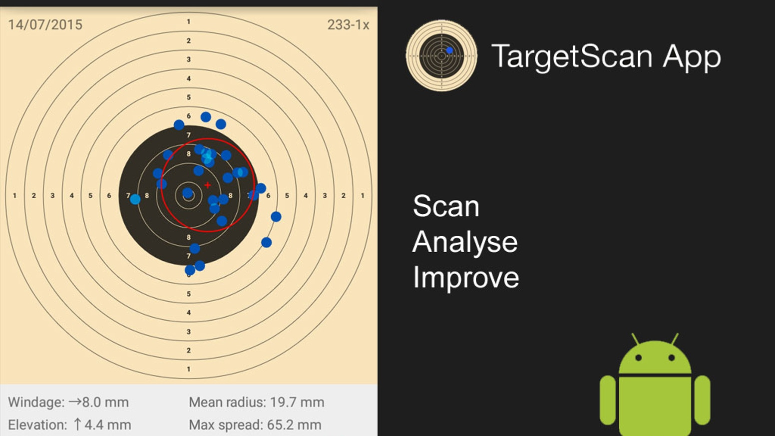 Score your targets and analyse the shooting group just by taking a photo of the target (porting TargetScan App to Android).