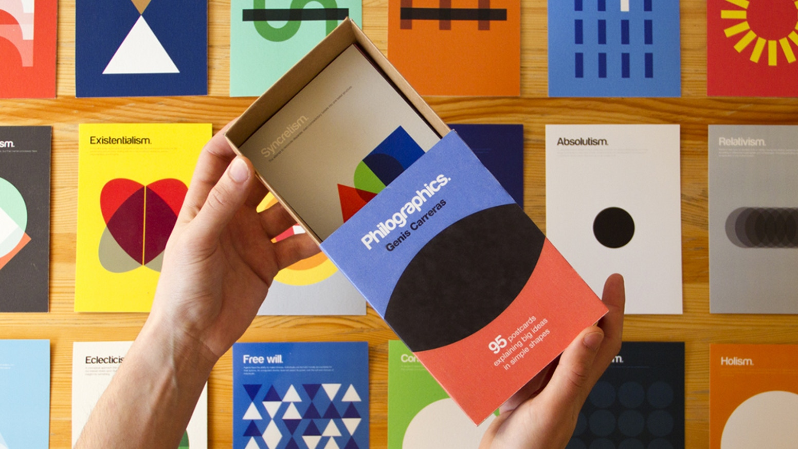 A series of 95 beautiful designs explaining philosophy using simple colors and shapes, available as a postcard box and a book.