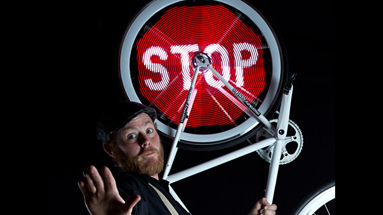 Image stop sur rayon de vélo via Monkey Lights