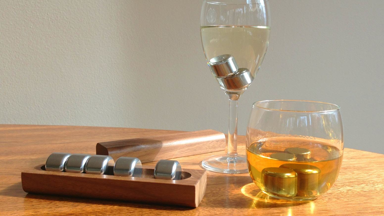 Re-chillable Pucs cool your drink without watering it down. Perfect for wine, whiskey, scotch - even coffee!