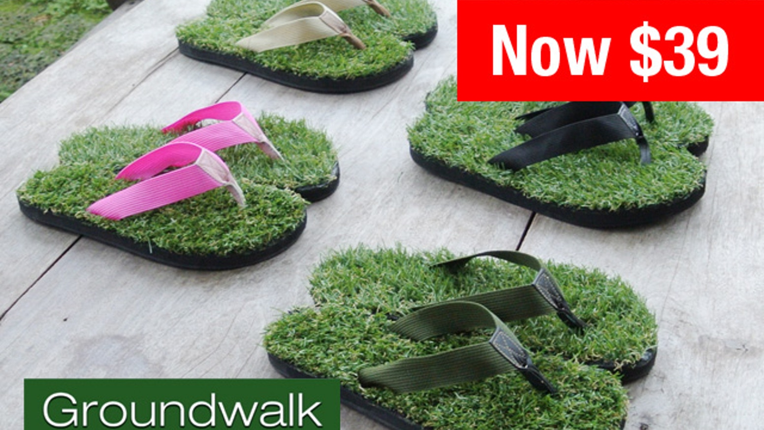 New and improved realistic grass sandals. Soft and comfortable. Groundwalk.com