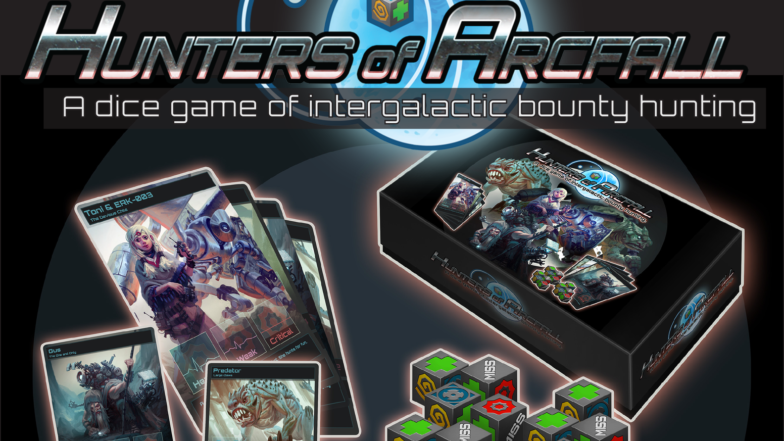 Become the greatest bounty hunter in the galaxy in this Sci-Fi themed card and dice game for 2-6 players.