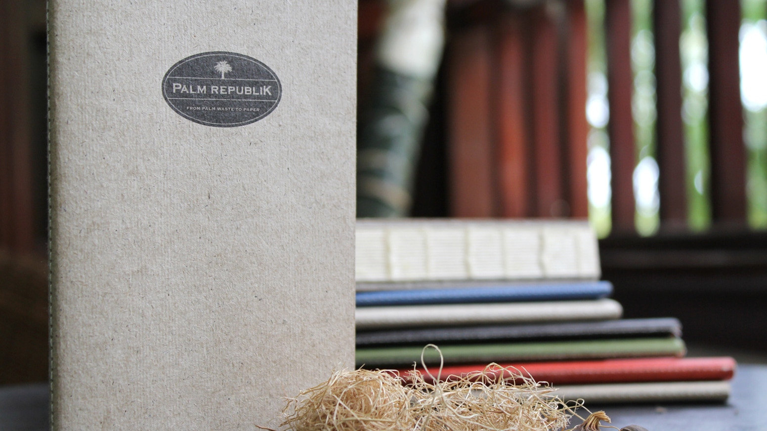 Notebooks and journals made from sustainable tree-free paper that is derived from the agricultural waste of palm oil production