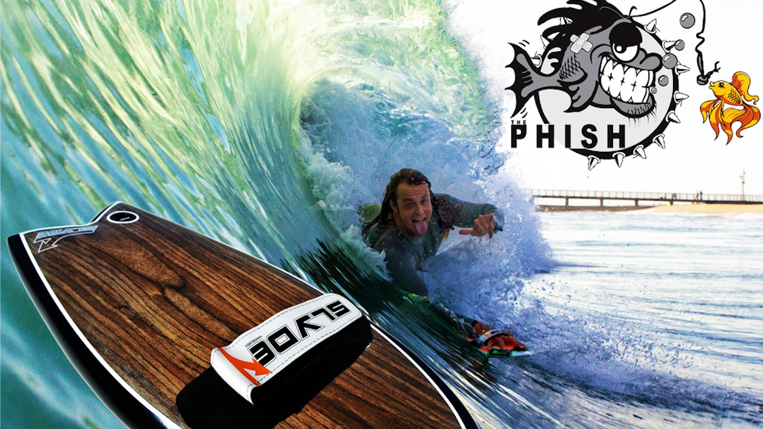 The Slyde Phish, an exhilarating new way to surf.  From expert-beginner slyde your hand into the Phish and get hooked on handboarding.