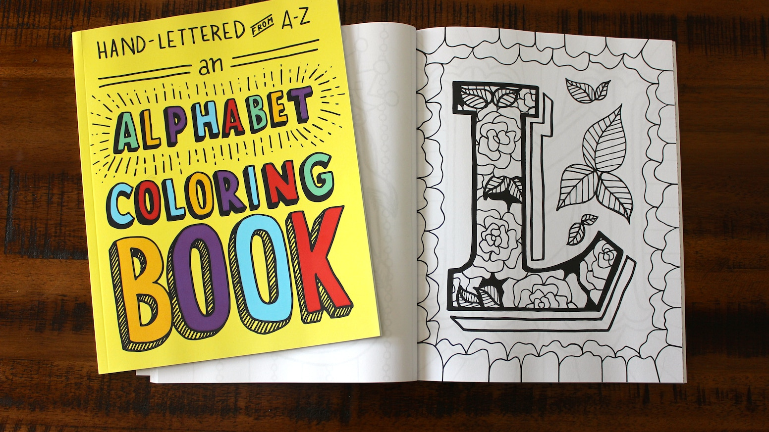 Hand lettered from a to z: an alphabet coloring book by free period