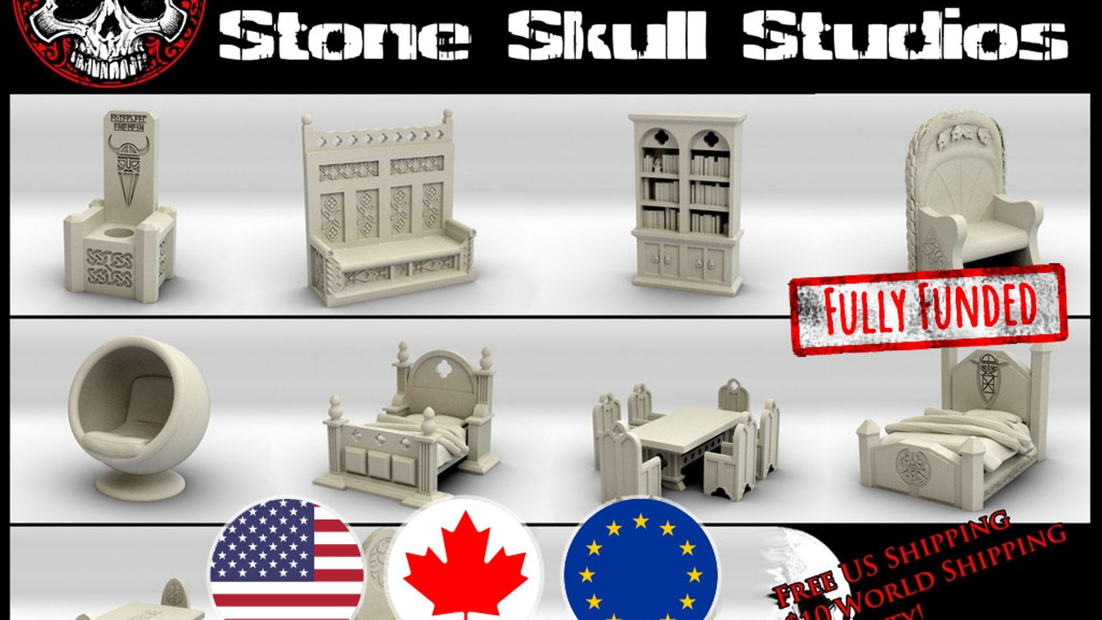 28mm Scale Furniture and accessories for both Fantasy and SciFi tabletop gaming worlds. Cast in resin from high resolution 3d prints.