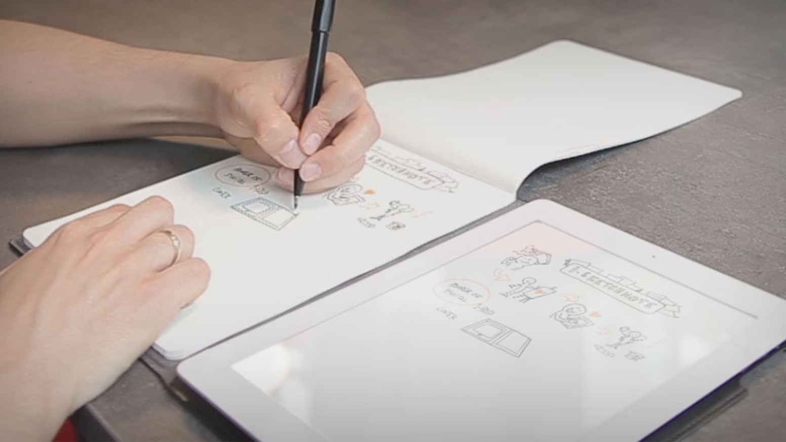 Give a digital life to your paper creations with the Slate. Put any kind of paper or notebook on it and draw your imagination. Your creations are magically digitized in real time!