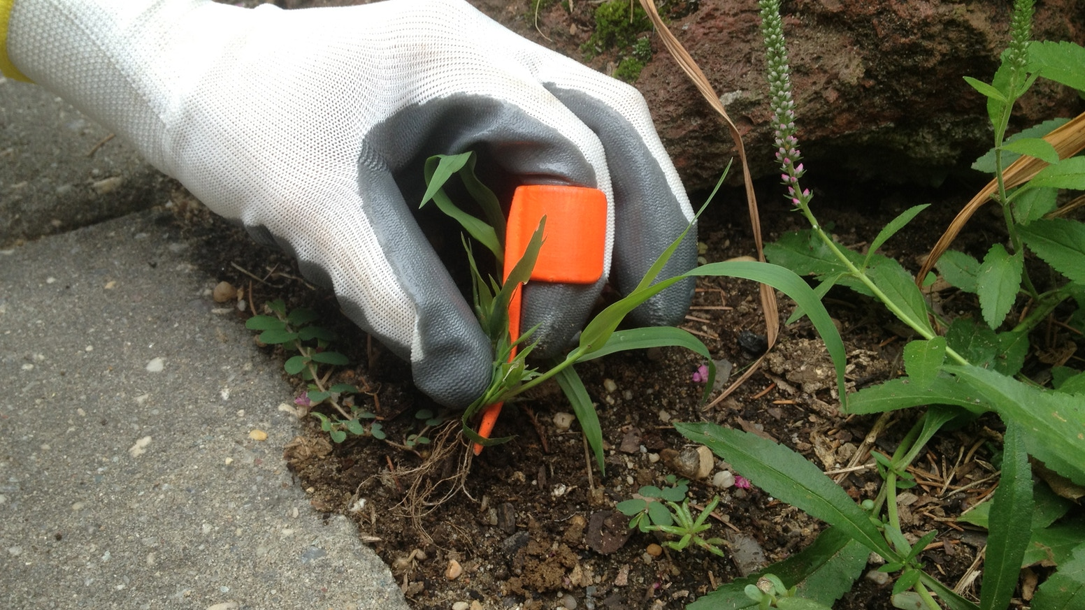 A garden tool that slips over your index finger that helps you weed those densely planted areas where larger tools won't fit.