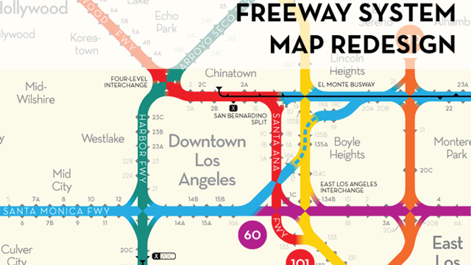 Los Angeles Freeway Map Redesigned By Peter Dunn Kickstarter