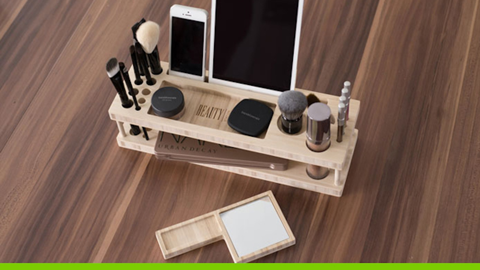 A complete makeup organizer, display center, and universal docking station for iPhone, iPad & most phones & tablets - Made in the USA.