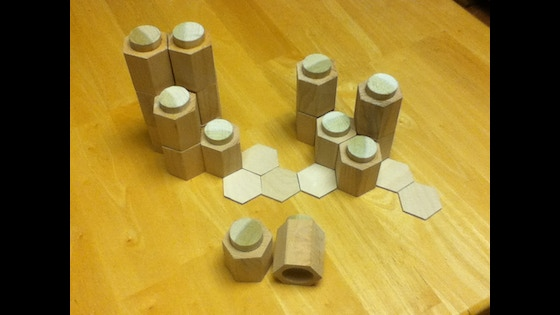 Track Three Dimensional Hex or Square Terrain Tiles- Made of Wood!'s