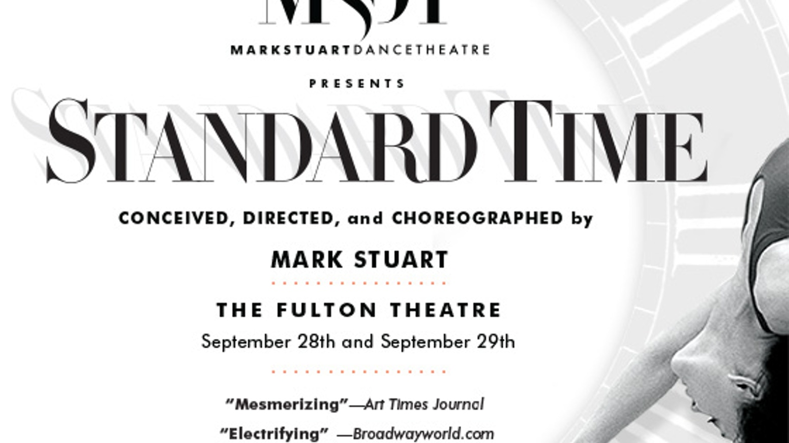 STANDARD TIME is a gravity-defying dance musical about passion and love coming face to face with intolerance and social conflict.